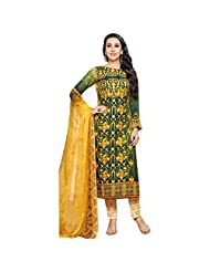 Green And Yellow Printed Pure Pashmina Pakistani Suit