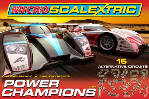 Micro Scalextric G1062 Power Champions 1:64 Scale Race Set