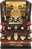 5089  櫃付兜緋三段飾り(茶)【コンパクトサイズ】【五月人形】【鎧飾り】【兜飾り】ポリレジン樹脂製