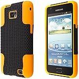 ECENCE Samsung Galaxy S2 i9100 S2 Plus i9105 Outdoor Silikon TPU case schutz hülle handy tasche cover schale schwarz und orange 13030104