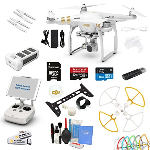 DJI Phantom 3 Professional (Pro) Drone Quad Copter W/ 4K Video Camera Gimbal EVERYTHING YOU CAN THINK OF KIT: 1x 64GB U1 SD Card, Snap on Prop Guards and More