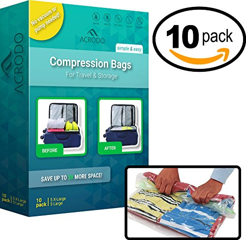 Acrodo Space Saver Compression Bags 10-pack for Packing and Storage - No Vacuum Rolling Ziplock for Clothing, Travel, Organizing, Luggage, and Suitcase (Amazon Try Prime compare prices)