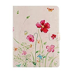 Floral Case for iPad 2, Flower Case for iPad 3,Stand Case for iPad 4,IKASEFU(TM) Colorful Painting Pink Soft Inner Floral Flowers Series PU Leather Book Style Flip Protective Carrying Case Cover with Stand Function for iPad 2