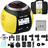 GBD Wireless 360 Degree Panoramic Camera 3D VR Live Video Full View Action Sports Camera with WiFi Waterproof 16MP 4K HD 0.96inch Screen 30fps 230° Large Lens Mini DV Player (Yellow)