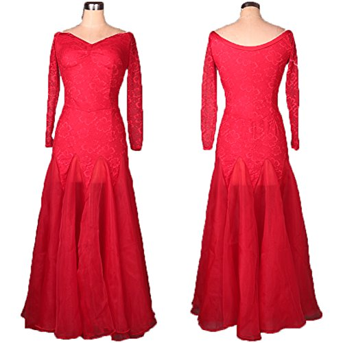 [FERE8890 Women's Dancewear Competition Dancing Latin Practice Long Floor Half Sleeve Bud Silk High-grade Material Dress Red] (Dance Costumes For Liturgical Dances)