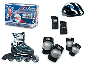 Fila X-One Combo - Juego de patines en línea, casco y protectores multicolor negro/azul, Talla ajustable 35-38