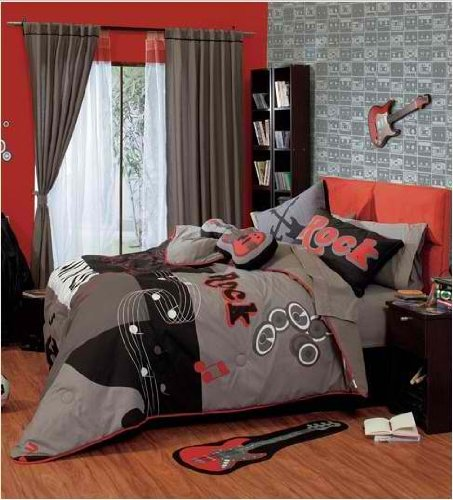 Rock And Roll Teen'S Best Seller Reversible Comforter (Full / Queen) front-14046