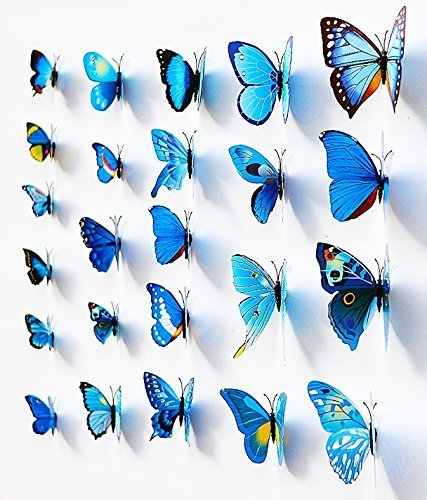 Blue 24PCS 3D Butterfly Wall Stickers Decor Art Decorations 3 size - 1
