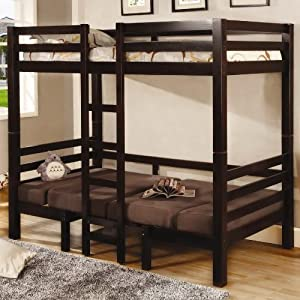 Bunk Bed Twin/Twin Convertible Loft Bed Brown