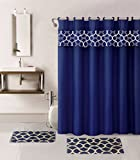 15-piece Bathroom Set Geomitric: 2-rugs/mats, 1-fabric Shower Curtain, 12-fabric Covered Rings (Navy Blue Geometry)