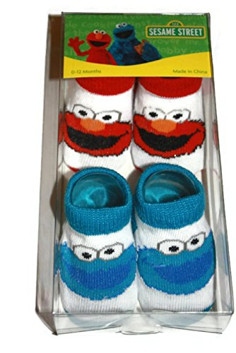 Sesame Street 0-12 Month Socks (White with blue & red)