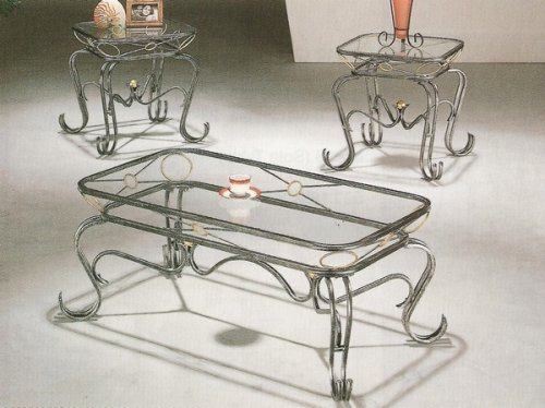 Buy Low Price 3pc Xo Style Wrought Iron Occasional Coffee Table Set W Glass Top Vf 7059