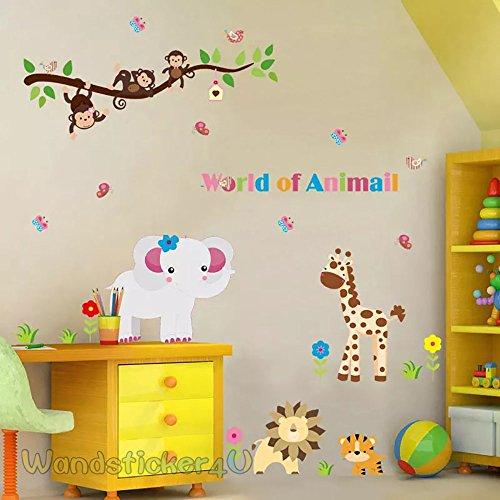 wandsticker4u-world-of-animal-motiv-affe-elefant-lowe-giraffen-tiger-blumen-schmetterlinge-ast-effek