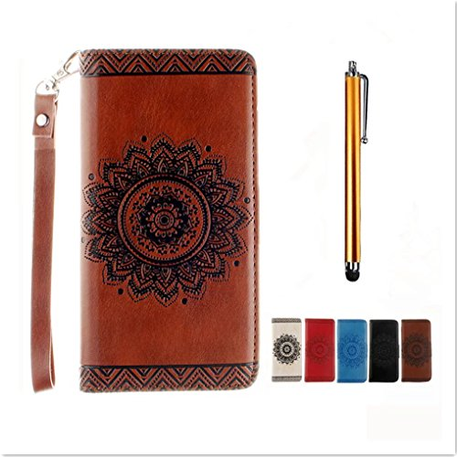 sony-xperia-x-performance-custodia-in-pu-pelle-brown-modello-fiore-indiano-mandala-kshop-fatto-a-man