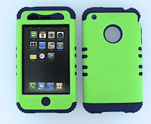Shockproof Hybrid Cell Phone Cover Protector Faceplate Hard Case And Dark Blue Skin With Mini Stylus Pen. Kool Kase Rocker For Apple Iphone 3G 3Gs Neon Lime Green Db-A006-Pd