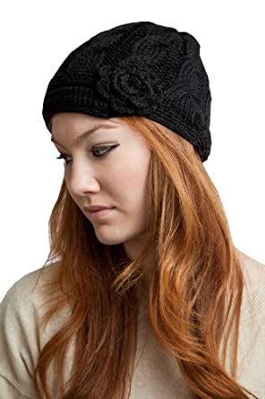 ACABK2914_BLK Super soft and cute hand knitted Newsboy with 1 inch short visor and flower embellishment