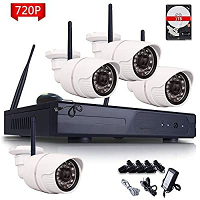 ANRAN 4CH 720P HD WIFI NVR Wireless Security Camera System with 4 Weatherproof 720P Indoor/Outdoor Night Vision IP Security Camera 1TB HDD Easy Remote Access