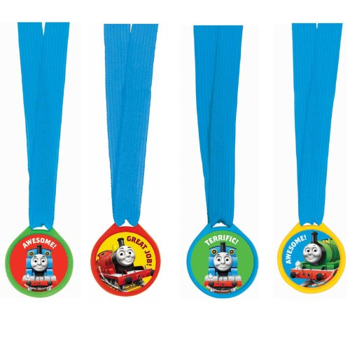 "Amscan Awesome Thomas The Tank Award Medal Ribbons Birthday Party Favor (12 Piece), 13"", Multi"