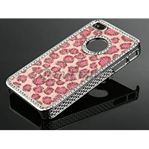 Pandamimi NEWEST 2nd Generation Pink Leopard Dot Chrome Glitter Bling Crystal Rhinestone Hard Case Cover Skin for Apple iPhone 4 4S 4G