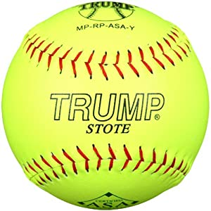 Trump MP-RP-ASA-Y MP Series 12 Inch Red Stitch Yellow Premium Grade Leather Softball with ASA Stamp