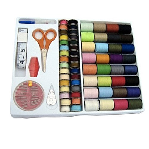 Spools Rainbow 100-in-1 Essential Polyester Sewing Tools Thread Box Kit Needlework Box Set for Domestic Sewing Machine Sewing Kit Thread Needle Tape Scissor Thimble Set Quilting Stitching/hand Sewing/machine Sewing (1)