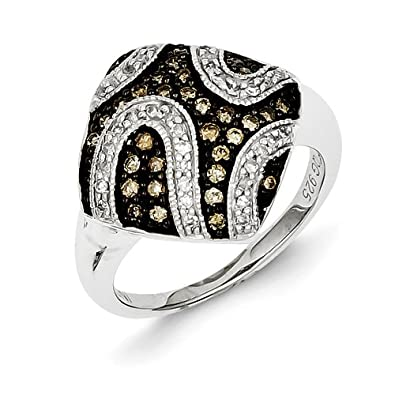 Sterling Silver Champagne Diamond and Diamond Shape Ring - Ring Size Options Range: L to P