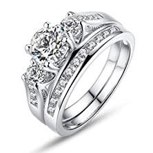 buy Bamoer Women Set Of 2 18K White Gold Plated Princess Cut Big Round Cubic Zirconia 3 Stone Engagement Wedding Ring Set For Her Girls Sizes 8