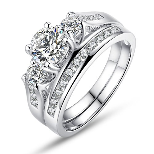 Bamoer 2 Pieces 18K White Gold Plated Princess Style Big Round Cubic Zirconia 3 Stone Engagement Ring Wedding Band for Women Girls Sizes 7