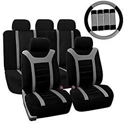 FH GROUP FH-FB070115 Complete Set Sports Fabric Car Seat Covers, Airbag compatible and Split Bench with Steering Wheel Cover, Seat Belt Pads Gray- Fit Most Car, Truck, Suv, or Van