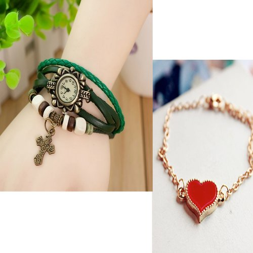 Spring fashion! Antique watch charm cross cross heart bracelet leather belt leather one size fits most watch skin ethnic Asian wood beads motif multiple breath adjustable fashion accessories design resort arms show [empty border Corps] (green)