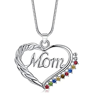 Eloi Jewelry® Mom Necklace Multicolor Heart Pendant Mother's Day Gift Jewelry