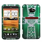 Case+Stylus, Fits HTC EVO 4G LTE Green Celtic Cross Ring + Stylus/Pen Sprint
