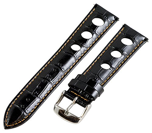 18Mm Rally 3-Hole Croco Black / Orange Leather Interchangeable Replacement Watch Band Strap