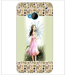 PrintDhaba Umbrella Girl D-2619 Back Case Cover for HTC ONE M7 (Multi-Coloured)
