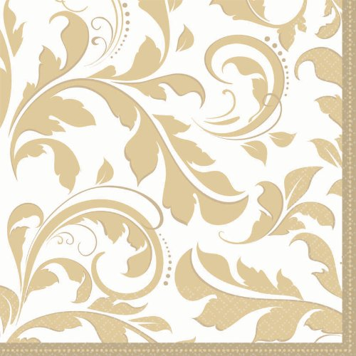 Amscan Elegant EN Wedding Party Lunch Napkins (16 Piece), 6.5 x 6.5