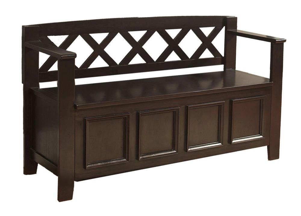 Simpli Home Amherst Entryway Storage Bench Dark Brown Furniture Decor