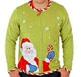 Ugly Christmas Sweater - Candy Cane Santa Cardigan in Green Xx-large By Festified