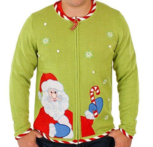 Ugly Christmas Sweater - Candy Cane Santa Cardigan By Festified
