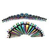 Vcmart Rainbow Ear Gauges Stretching Kit 36 pcs Surgical Steel Tapers and Plugs 14G - 00G 18 Pairs
