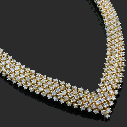 14K Yellow Gold Womens Diamond Necklace 18.00