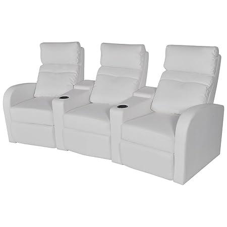 vidaXL Kinosessel Fernsehsessel Heimkino Relaxsessel Cinema Sofa Kunstleder 3-Sitzer