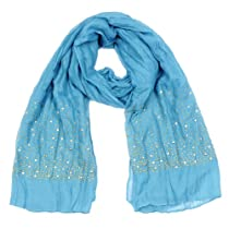 Womens Gold Sequin Edge Scarf Teal
