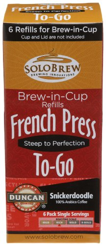French Press To-Go Brew-in-Cup, Duncan Coffee Company Snickerdoodle, Rich, 6-Count Plunger Refills (Pack of 4)