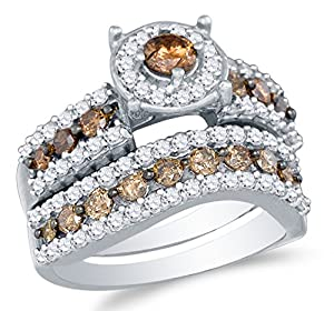 Size 10 - 10K White Gold Chocolate Brown & White Round Diamond Halo Circle Bridal Engagement Ring & Matching Wedding Band Two Piece Set - Prong Set Solitaire Center Setting Shape with Channel Set Side Stones - Curved Notched Band (1.70 cttw.)
