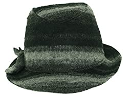 August Accessories Wool Blend Ombre Fedora Hat Black, One Size