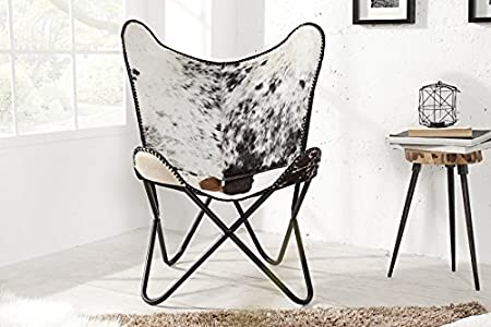 Casa Padrino real fur designer armchair Black / White - Relax cowhide chair