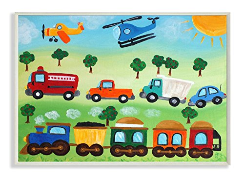 The Kids Room by Stupell Planes, Trains, and Automobiles Rectangle Wall Plaque