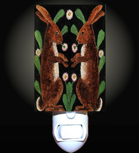 Rabbits And Flowers Decorative Night Light front-1040660