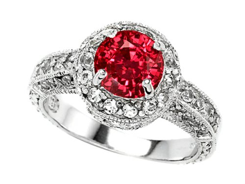 Star K 7mm Round Created Ruby Engagement Ring Size 6: Jewelry
