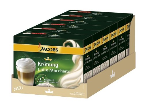 Shop for Jacobs Krönung Latte Macchiato, Pack of 6, 6 x 7 Coffee Pods + Topping by Kraft Foods